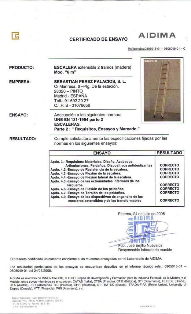 Certificado AIDIMA